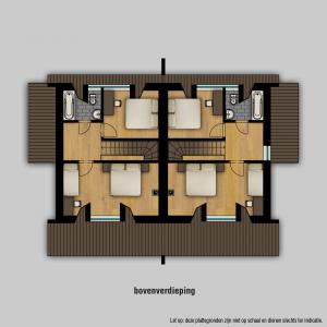 Plattegrond 2 onder 1 kap bovenverdieping